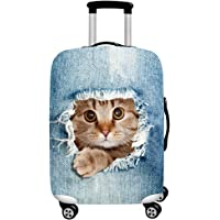 Cute 3D Watercolor Cactus Pattern Luggage Protector Travel Luggage Cover Trolley Case Protective Cover Fits 18-32 Inch