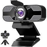 Webbkamera med mikrofon för pc, 1080P HD USB-webbkamera med sekretessslutare och webbkamerafodral och stöd, streaming mikrofo