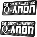 2X QANON - The Great Awakening Sticker Aufkleber 25x10 cm Trump 17 Q-Anon Carbon Oder Chrom wählbar (Carbon)