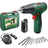 Bosch EasyDrill 1200 akumulatorowa wiertarko-wkrętarka (2 akumulatory, 12-częściowy zestaw akcesoriów, system 12 V, w walizce
