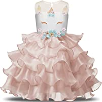 NNJXD Ragazza Unicorno Ruffles Fiori Festa Cosplay Abito da Sposa Vestito della Principessa
