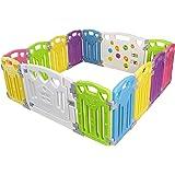 Looprooster voor baby's, afsluitrooster, kruiprooster, beschermingsrooster voor kinderen, van kunststof met deur en speelgoed