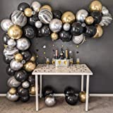 Black Gold Balloon Arch Kit, Black Gold Silver Agate Latex Balloons Garland Pack for Birthday Party Wedding Baby Shower Gradu