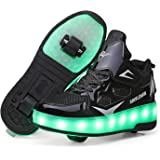 Kids Boys Girls LED Roller Skates 7 Colors LED Lights Roller Shoes with Wheels USB Charging Luminous Trainers Double Wheel In