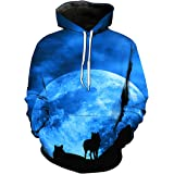 Fashion 3D Hoodies Wolf Hoodie Pullover Graphic Sweatshirts Hooded with Big Pockets and Fleece Plush Lining for Men