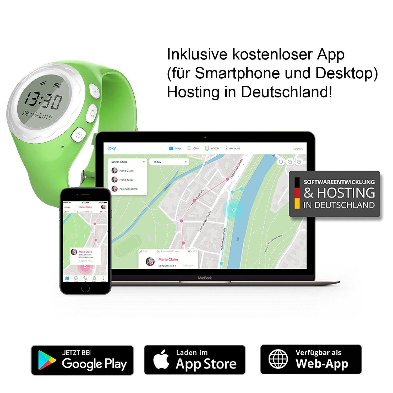 Pingonaut Kidswatch – Kinderuhr mit GPS & Telefonfunktion, Smartwatch für Kinder mit GPS-Tracker-App und SOS-Funktion, Softwareentwicklung & Hosting in Deutschland, Sim-Karte Inclusive, Apfelgrün