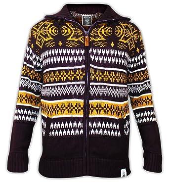 Men Soul Star Knitted Collar Zip Jumper Fair Isle Cardigan Winter ...