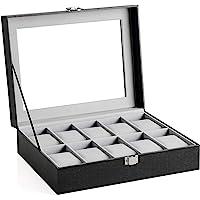 INOVERA (LABEL) 10 Slot Watches Display Storage Box Case Holder Organizer with Transparent Window (Black and Light Grey…