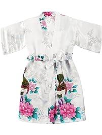 Girls  Satin Kimono Robe - Peacock and ... 0b45847b1d91