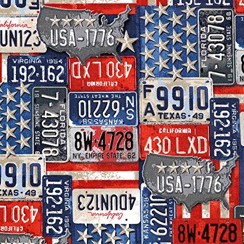 Timeless Treasure Stoff Baumwollstoff Motorrad Vintage License Plates Nummernschilder USA Meterware Stoff zum Nähen