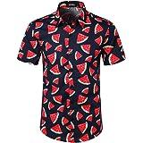 JOGAL - Camisa hawaiana de manga corta con botones para hombre, estilo informal y estampado floral