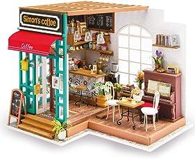 Winni43Julian DIY Puppenhaus Kit, DIY Puppenstube mit LED Licht, 19.5*18.3*21cm - Kaffeestube