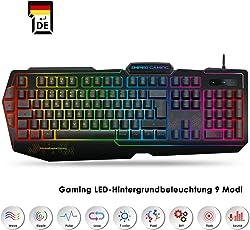 EMPIRE GAMING – Gaming Tastatur K900 – 105 halbmechanische Tasten - LED-RGB-Hintergrundbeleuchtung 9 Modi, Davon Einer personalisierbar - Tastatur Gamer 19 Anti-Ghosting-Tasten