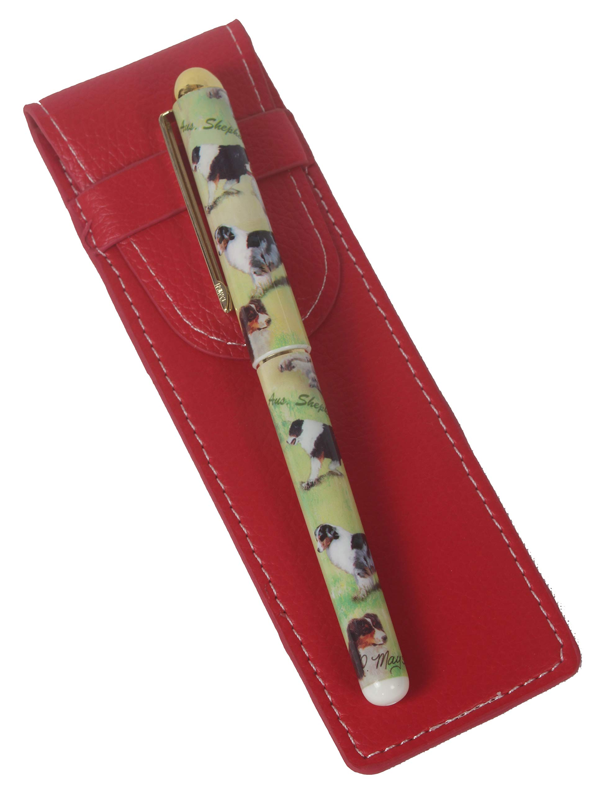 Australian Shepherd Breed of Dog Themed Pen in a Choice of Red or Black Pen Case Perfect Gift (Red)