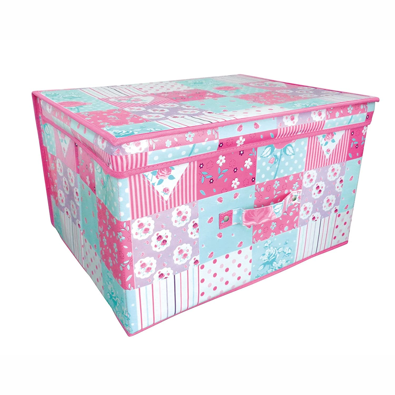 Folding Pink and Teal Patchwork Kids Room Tidy Toy Storage Box