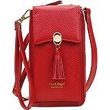 Pearl Angeli Weiches Echtes Leder Handy Umhängetasche - Handytasche Geldbörse Damen Quaste RFID Schutz kleine Crossbody Tasch