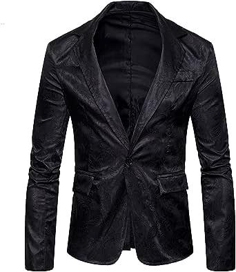 Allthemen Mens Paisley Tuxedo Jacket Smart Casual One Button Blazer Slim Fit Wedding Party Stage