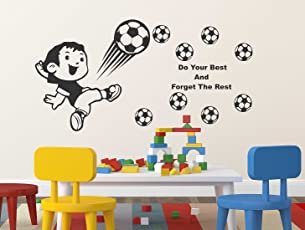 Luke and Lilly Boy and Football Design Vinyl Wall Sticker (100 * 60cm)
