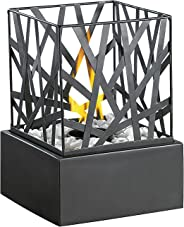 Carlo Milano Dekofeuer Garten: Tisch-Dekofeuer Feng Shui mit Steingarten (Mini Dekofeuer)
