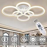 RUYI Modern LED Ceiling Light dimmable Remote Control 6 Ring Ceiling Light 72W 6400LM, Ceiling Light for Living Room, Bedroom