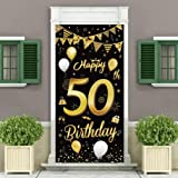 50th Birthday Party Decorations Backdrop and Door Banner,Black Gold Birthday Decoration for Men and Women of 50th Birthday Pa