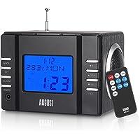 Radiowecker - August MB300 - Radio mit Akku - UKW, USB, SD/MMC, Line-In, Wecker, LCD Display (komplett schwarz)