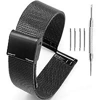 Adallor® 10 12 14 16 18 20 22 24mm Cinturini Orologio Leggeri Maglia in Acciaio Inossidabile con un Comodo Meccanismo di…
