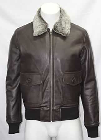 Boots And Leather Top Gun Marrone Plain Colletto in Pelliccia Bomber US Air Force Pilota Giacca in Pelle da Uomo