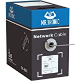 Mr. Tronic 305m Cavo di Rete Ethernet | CAT5E, AWG24, CCA, UTP, RJ45 | Bobina di Rete | Grigio (305 Metri)