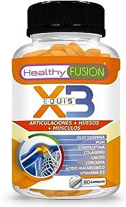 X3 | Potente cúrcuma orgánica con glucosamina, condroitina y colágeno | Elimina el dolor en músculos, articulaciones y huesos