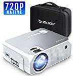 BOMAKER Proyector 3600 Lúmenes LED, Mini Proyector Portátil de 1280 x 720p, Soporte Full HD 1080p de 50000 Horas...