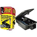 The Big Cheese STV179 Rat and Mouse Bait Station (Durable, Lockable, Reusable Bait Box), Black