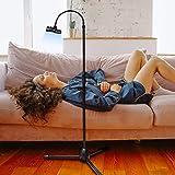 Tripod Stand Holder Adjustable 360° Swivel Phone Pad Lazy Stand Holder Bracket Floor Rack Black for 3.5'' to 12.5'' Tablet Ph