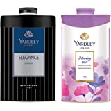 Yardley London Morning Dew Perfumed Talc for Women, 250g & Yardley London - Elegance Deodorizing Talc for Men, 250g