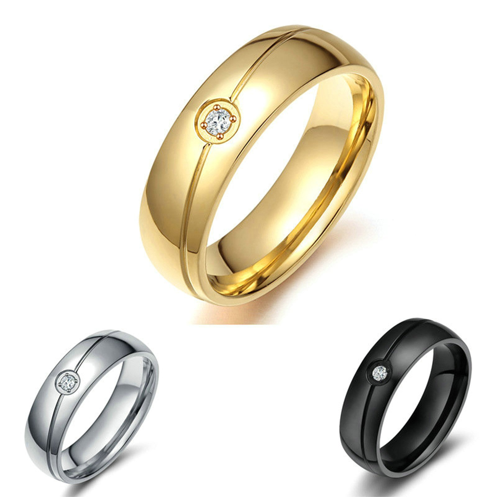 Onefeart Women Titanium Steel Ring Mens Wedding Band,White Crystal 6MM Size J 1/2-Z 1/2 Silver/Gold/Black