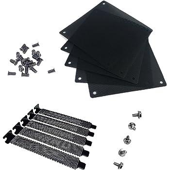 Nincha, griglia antipolvere in PVC per ventole di raffreddamento per PC da 12 mm, a rete, antipolvere, confezione da 5 pezzi, con 5 griglie per ingressi PCI e viti