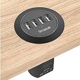 Simpeak Caricatore da Tavolo Incassato 4 Porte 30W PowerPort 4 Alimentatore Multi-Porta Compatibile per iPhone, Compatibile p