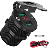 Quick Charge 3.0 USB-autocontactdoos, autolader, ingebouwd stopcontact, 12 V/24 V waterdichte autoladeradapter met LED-voltme