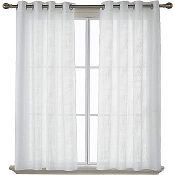 Deconovo 2er Set Vorhang Leinenoptik Ösenvorhang Voile Vorhang 175x140 cm Weiß 2er Set