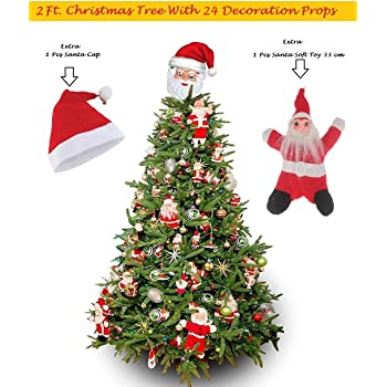 f98404f16469c JaipurCrafts WebelKart Combo of 2 ft (24 Inches) Plastic Table Desktop  Christmas Tree with 24 Pieces Assorted X Mass Decorations a Santa Cap and a  Soft Toy ...
