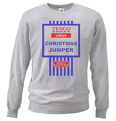 Grey or white tescos funny value christmas jumper tesco black grey tescos value christmas jumpers sweatshirt funny gift idea small negle