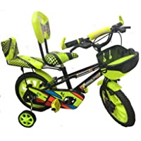 """Rising India 14"""" Cartoon Character Double Seated Modern Kids Bicycle for 3-5 Years Semi Assembled (Green)"""