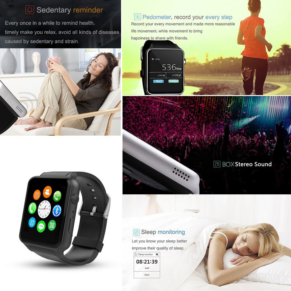 Smart Watch Smartwatch With Heart Rate Monitor Bluetooth Smartwatch Supports SIM Card Works With Android And IOS System Smartphones