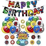 Kit de Decoracion Cumpleaños Superheroes Globos de Superheroes Feliz Cumpleaños del Pancarta Superhéroes Cake Toppers Fiesta