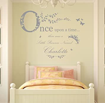 Once Upon A Time Personalised Name, Vinyl Wall Art Sticker Decal Mural,  100cm Bedroom