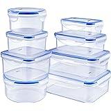 Deik Set di Contenitori per Alimenti Senza BPA, Impilabile 8 Pezzi, Certificato LFGB, Adatto per lavastoviglie, Congelatore,