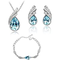 Crystalline Azuria - Parure da donna con collana e orecchini a perno placcati in oro bianco 18 kt con cristalli…