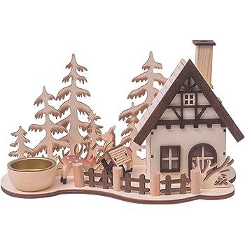 Klp Teelichthalter Holz Mit Raucherhaus Weihnachts Deko Leuchter