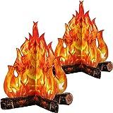 Fogata de Cartón Decorativa 3D Fuego Artificial de Centro de Mesa Llama Falsa Fiesta de Papel Decorativa Antorcha de Llamas (