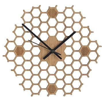 horloge murale silencieuse en bambou nid d abeilles en bois style